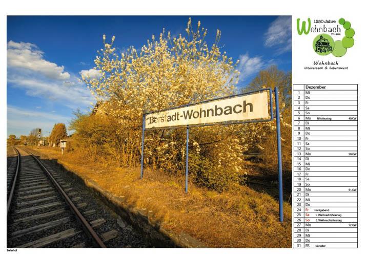 Wohnbach Kalenderbild Bahnhof