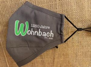 Mundschutz anthrazit, mit Wohnbach 1250 Schriftzug
