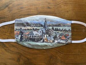 Mundschutz weiss, mit Wohnbach Skyline